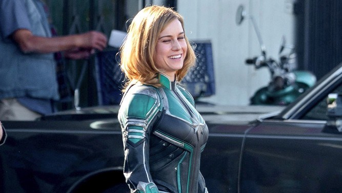 *EXCLUSIVE* Brie Larson suits up as Captain Marvel!